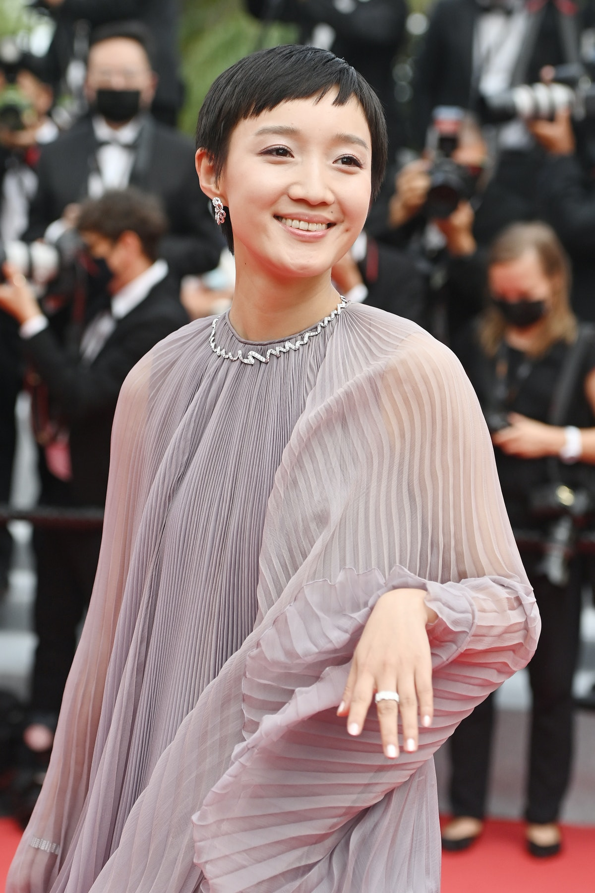 """CANNES, FRANCE - JULY 12: Huang Miyi attends the """"The French Dispatch"""" screening during the 74th annual Cannes Film Festival on July 12, 2021 in Cannes, France. (Photo by Kate Green/Getty Images)"""