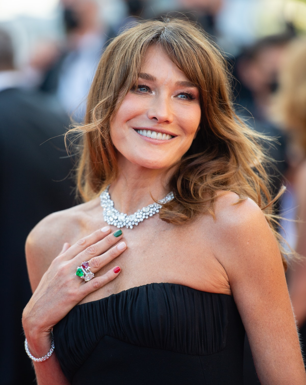 """CANNES, FRANCE - JULY 10: Carla Bruni attends the """"De Son Vivient (Peaceful)"""" screening during the 74th annual Cannes Film Festival on July 10, 2021 in Cannes, France. (Photo by Samir Hussein/WireImage)"""