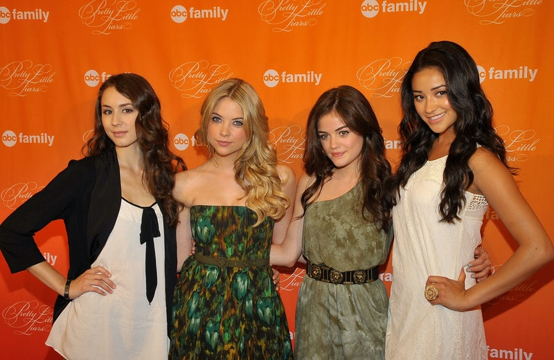 """LOS ANGELES, CA - JUNE 05:  (L-R) Actors Troian Avery Bellisario, Ashley Benson; Lucy Hale; and Shay Mitchell arrive at a book signing event for ABC Family's """"Pretty Little Liars"""" at Barnes & Noble bookstore at The Grove on June 5, 2010 in Los Angeles, California.  (Photo by Dr. Billy Ingram/FilmMagic)"""
