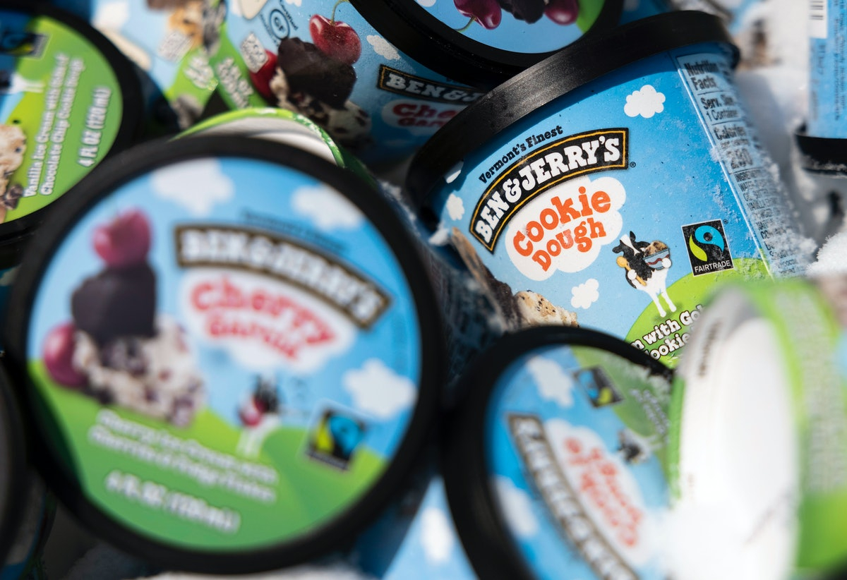 WASHINGTON, DC - MAY 20: Ben and Jerry's ice cream is stored in a cooler at an event where founders Jerry Greenfield and Ben Cohen gave away ice cream to bring attention to police reform at the U.S. Supreme Court on May 20, 2021 in Washington, DC. The two are urging the ending of police qualified immunity. (Photo by Kevin Dietsch/Getty Images)