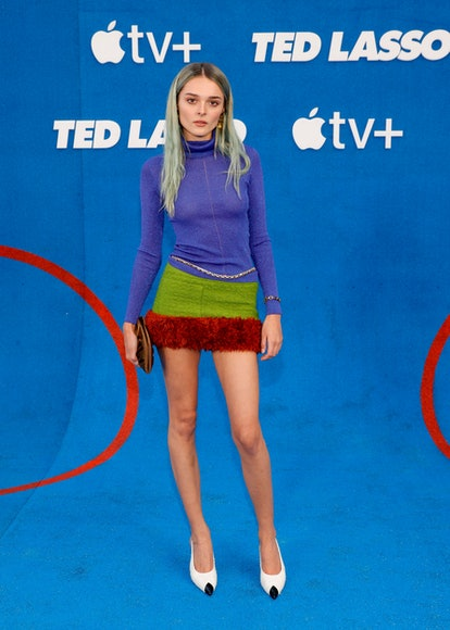 """WEST HOLLYWOOD, CALIFORNIA - JULY 15: Charlotte Lawrence attends Apple's """"Ted Lasso"""" season two prem..."""