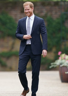 Britain's Prince Harry, Duke of Sussex, arrives for the unveiling of a statue of their mother, Princ...