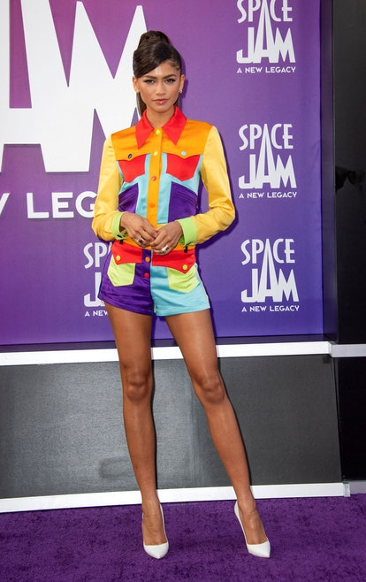 """Actress/singer Zendaya arrives at the Warner Bros Pictures world premiere of """"Space Jam: A New Legac..."""