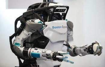 TOKYO, JAPAN - NOVEMBER 21:  Boston Dynamics Inc.'s Atlas humanoid robot is displayed during the Sof...
