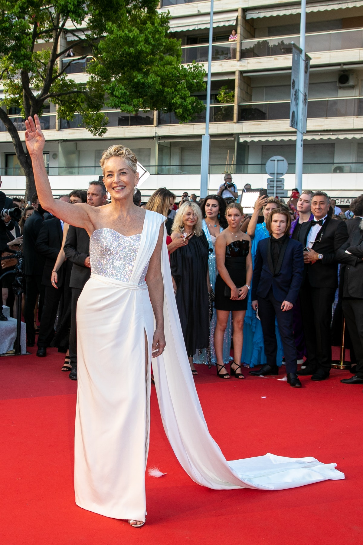 """CANNES, FRANCE - JULY 17: Actress Sharon Stone attends the final screening of """"OSS 117: From Africa With Love"""" and closing ceremony during the 74th annual Cannes Film Festival on July 17, 2021 in Cannes, France. (Photo by Marc Piasecki/FilmMagic)"""