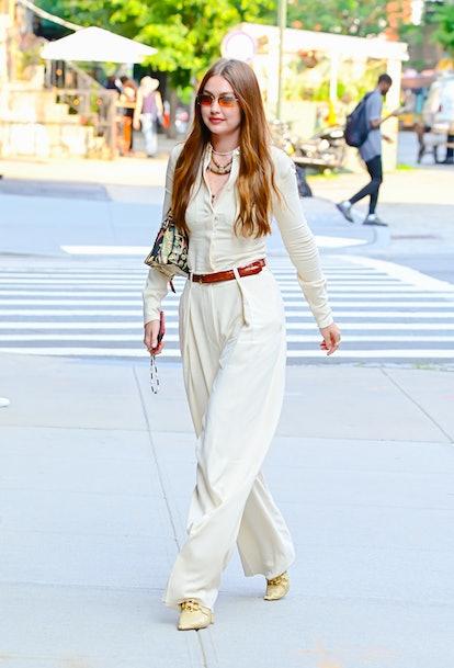 NEW YORK, NY - JULY 15:  Gigi Hadid is seen walking in SoHo on July 15, 2021 in New York City. (Phot...