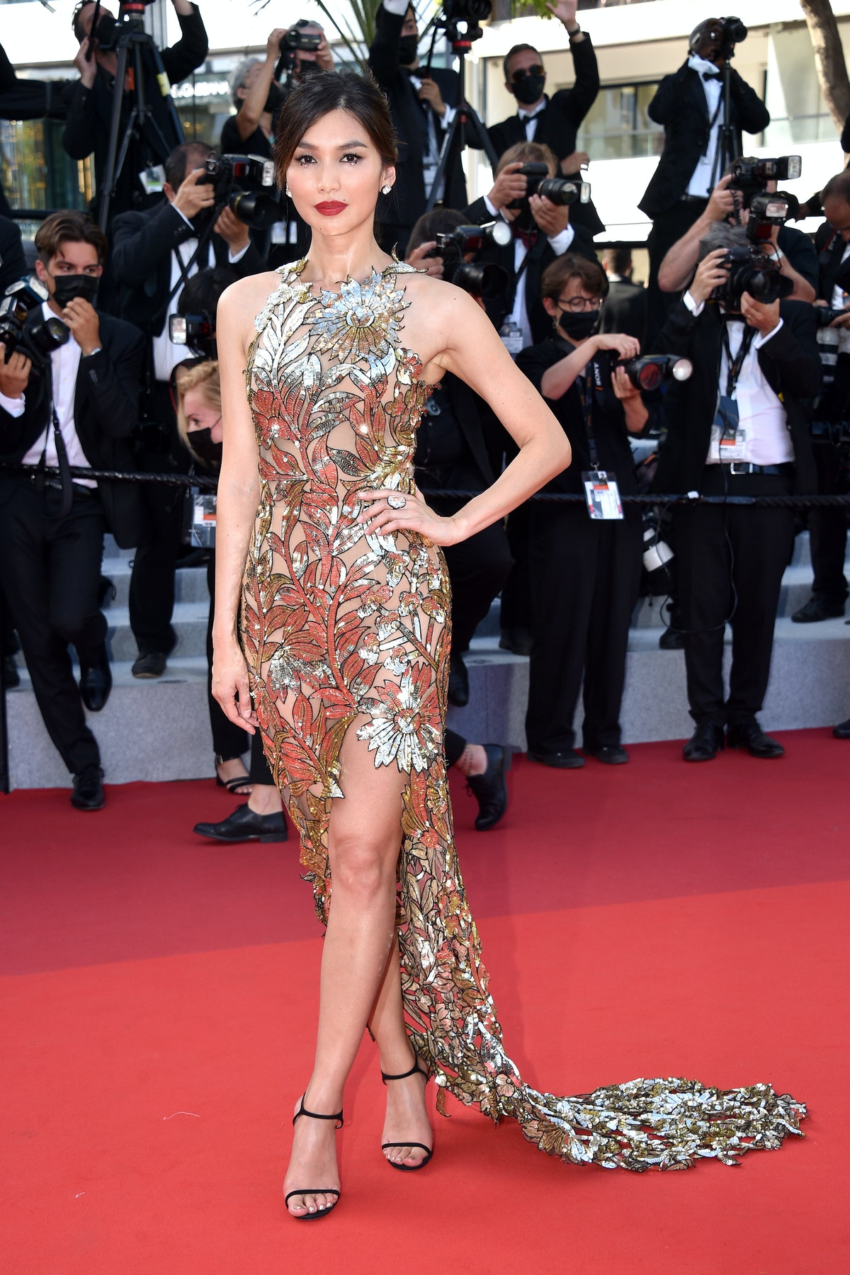 """CANNES, FRANCE - JULY 17: Gemma Chan attends the final screening of """"OSS 117: From Africa With Love"""" and closing ceremony during the 74th annual Cannes Film Festival on July 17, 2021 in Cannes, France. (Photo by Lionel Hahn/Getty Images)"""