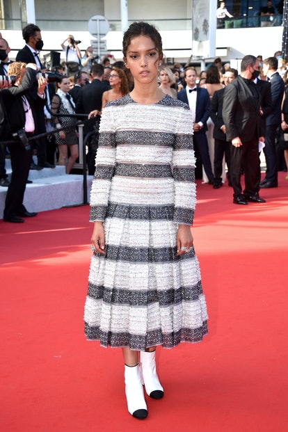 """CANNES, FRANCE - JULY 17: Lyna Khoudri attends the final screening of """"OSS 117: From Africa With Lov..."""