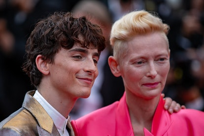 """CANNES, FRANCE - JULY 12: (L-R) Timothee Chalamet and Tilda Swilton attend the """"The French Dispatch""""..."""