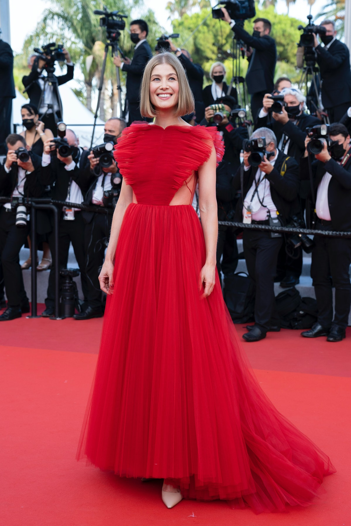 """CANNES, FRANCE - JULY 17: Rosamund Pike attends the final screening of """"OSS 117: From Africa With Love"""" and closing ceremony during the 74th annual Cannes Film Festival on July 17, 2021 in Cannes, France. (Photo by Arnold Jerocki/FilmMagic)"""