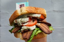 WASHINGTON, DC - MAY 5: The Bubb Club - grilled plant-based chick'n with lettuce, plant-based pork b...