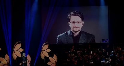 Former Right Livelihood laureate Edward Snowden speaks from a video screen during the 2019 Right Liv...