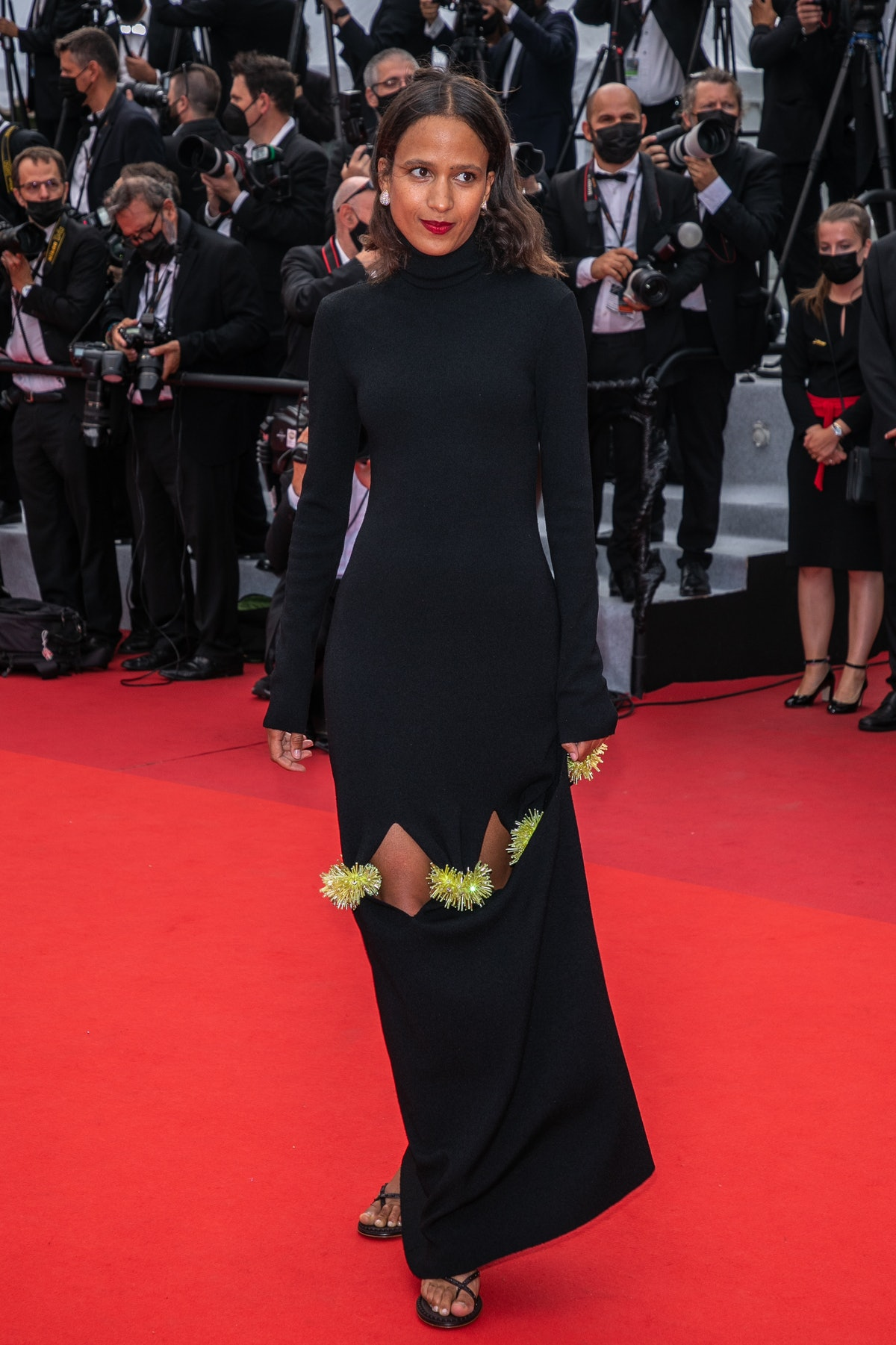 """CANNES, FRANCE - JULY 12: Mati Diop attends the """"The French Dispatch"""" screening during the 74th annual Cannes Film Festival on July 12, 2021 in Cannes, France. (Photo by Marc Piasecki/FilmMagic)"""