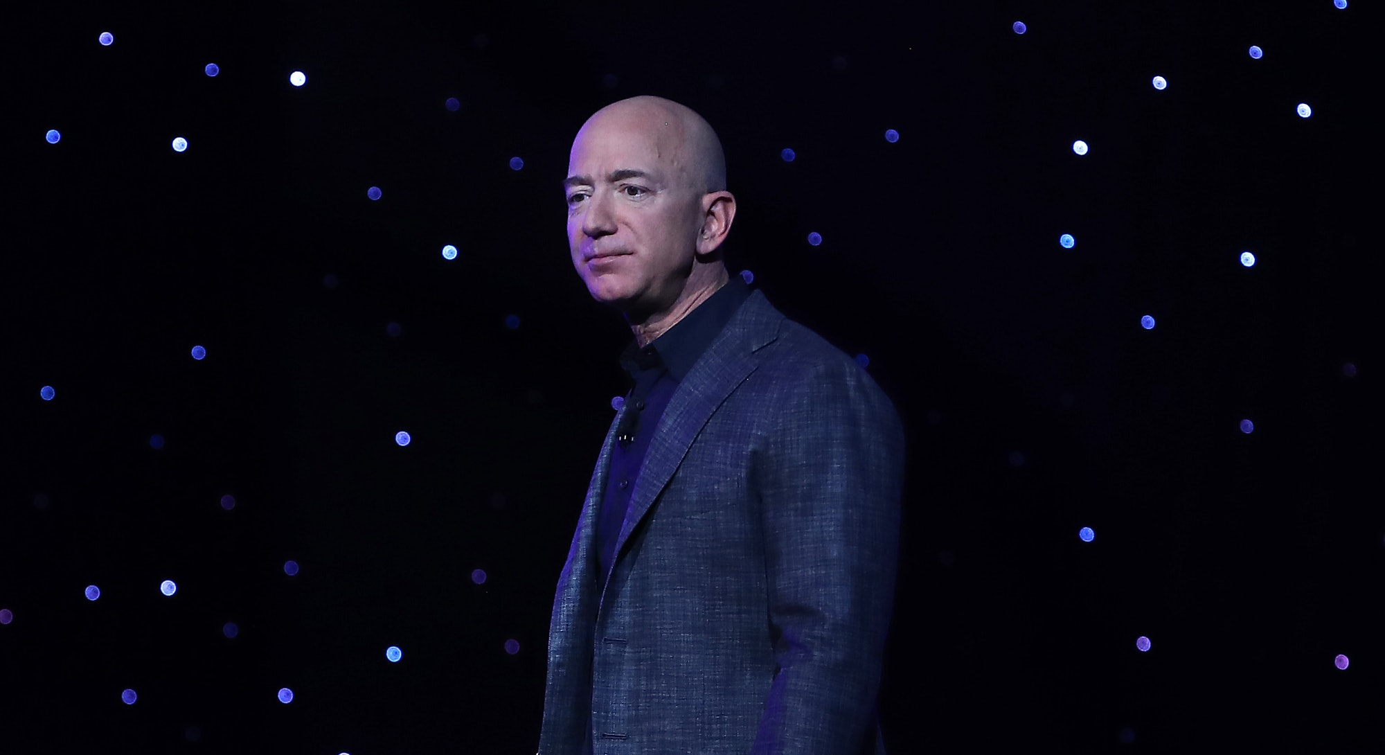 WASHINGTON, DC - MAY 09: Jeff Bezos, owner of Blue Origin, speaks about outer space before unveiling...