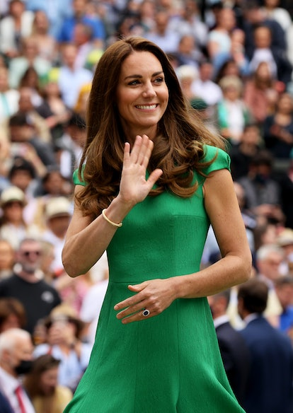 LONDON, ENGLAND - JULY 10: HRH Catherine, The Duchess of Cambridge at the Ladies' Singles Final match prize ceremony of Ashleigh Barty of Australia and Karolina Pliskova of The Czech Republic on Day Twelve of The Championships - Wimbledon 2021 at All England Lawn Tennis and Croquet Club on July 10, 2021 in London, England. (Photo by Clive Brunskill/Getty Images)