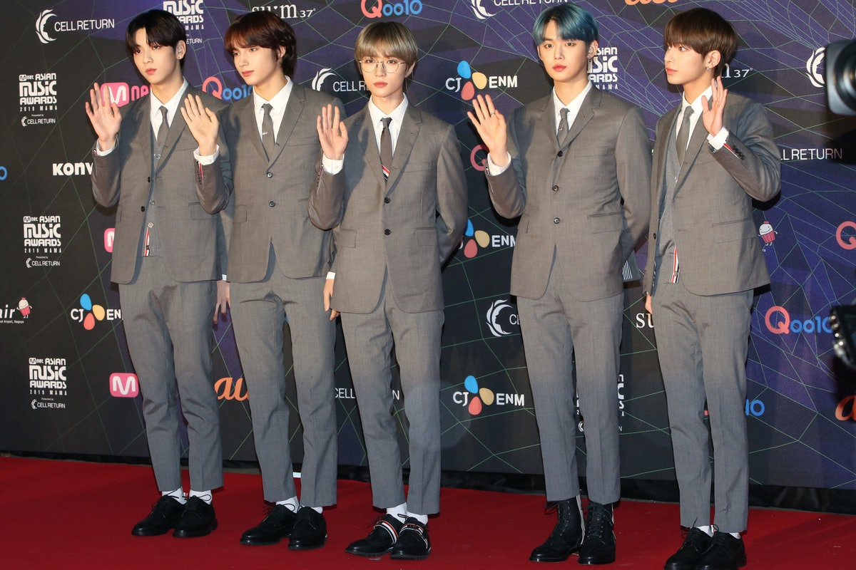 NAGOYA, JAPAN - DECEMBER 04: Tomorrow X Together attends the 2019 Mnet Asian Music Awards(MAMA) at Nagoya Dome on December 4, 2019 in Nagoya, Japan. (Photo by Jean Chung/Getty Images)