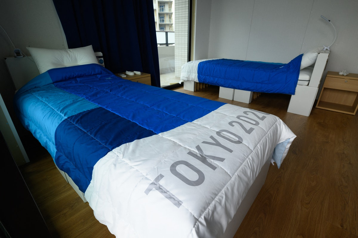 Recyclable cardboard beds and mattresses for athletes during a media tour at the Olympic and Paralym...