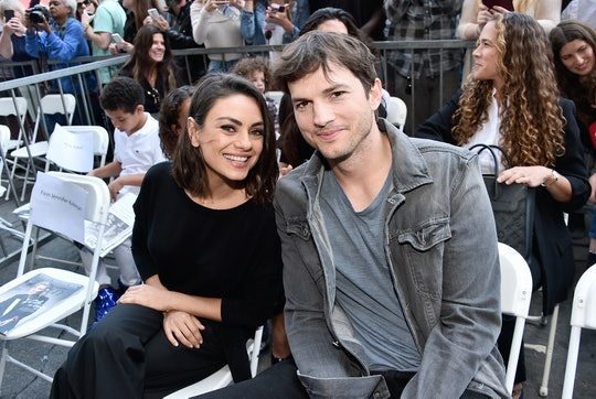 HOLLYWOOD, CA - MAY 03:  Actors Mila Kunis (L) and Ashton Kutcher at the Zoe Saldana Walk Of Fame St...