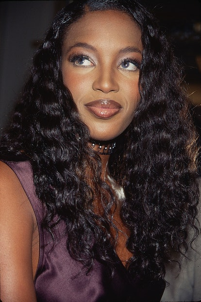 Close-up of British model Naomi Campbell at a Victoria's Secret fashion show in the Plaza Hotel, New...
