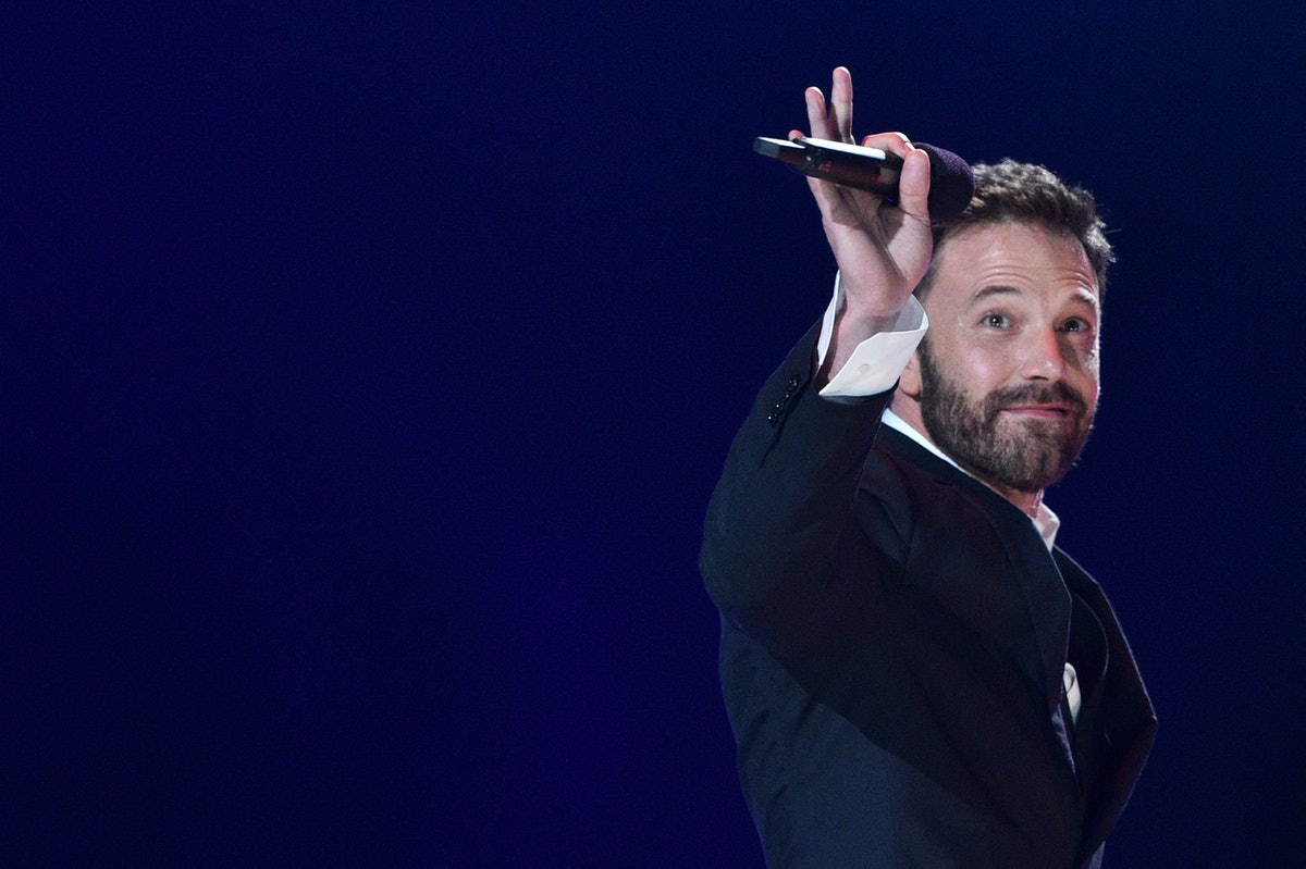 """US actor Ben Affleck waves as he walks off stage after speaking during the taping of the """"Vax Live"""" ..."""
