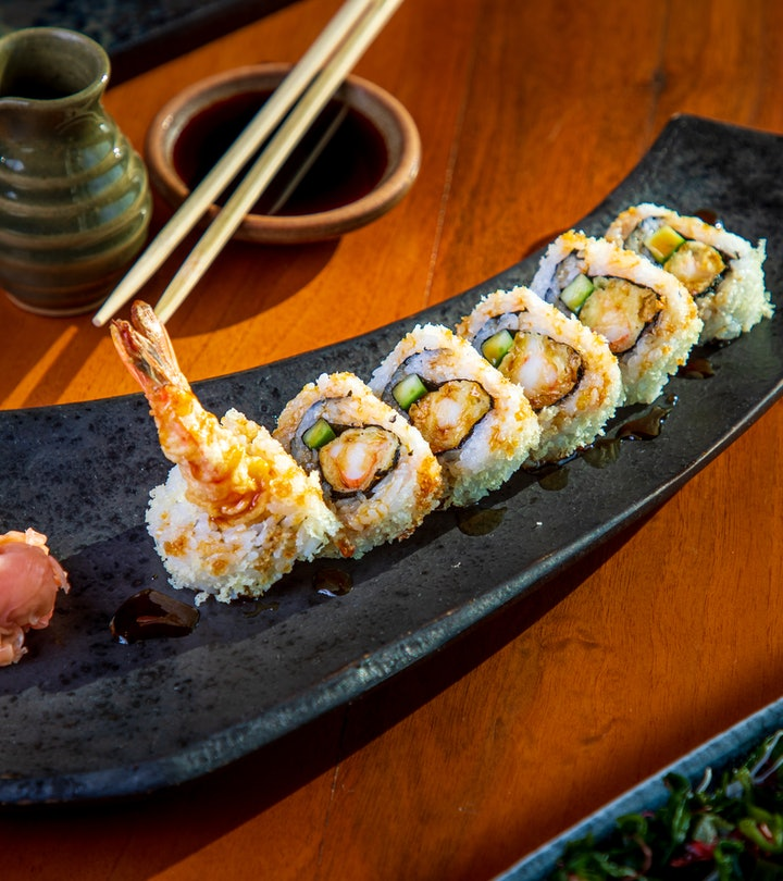 Shrimp tempura and veggie sushi are great options for pregnancy.
