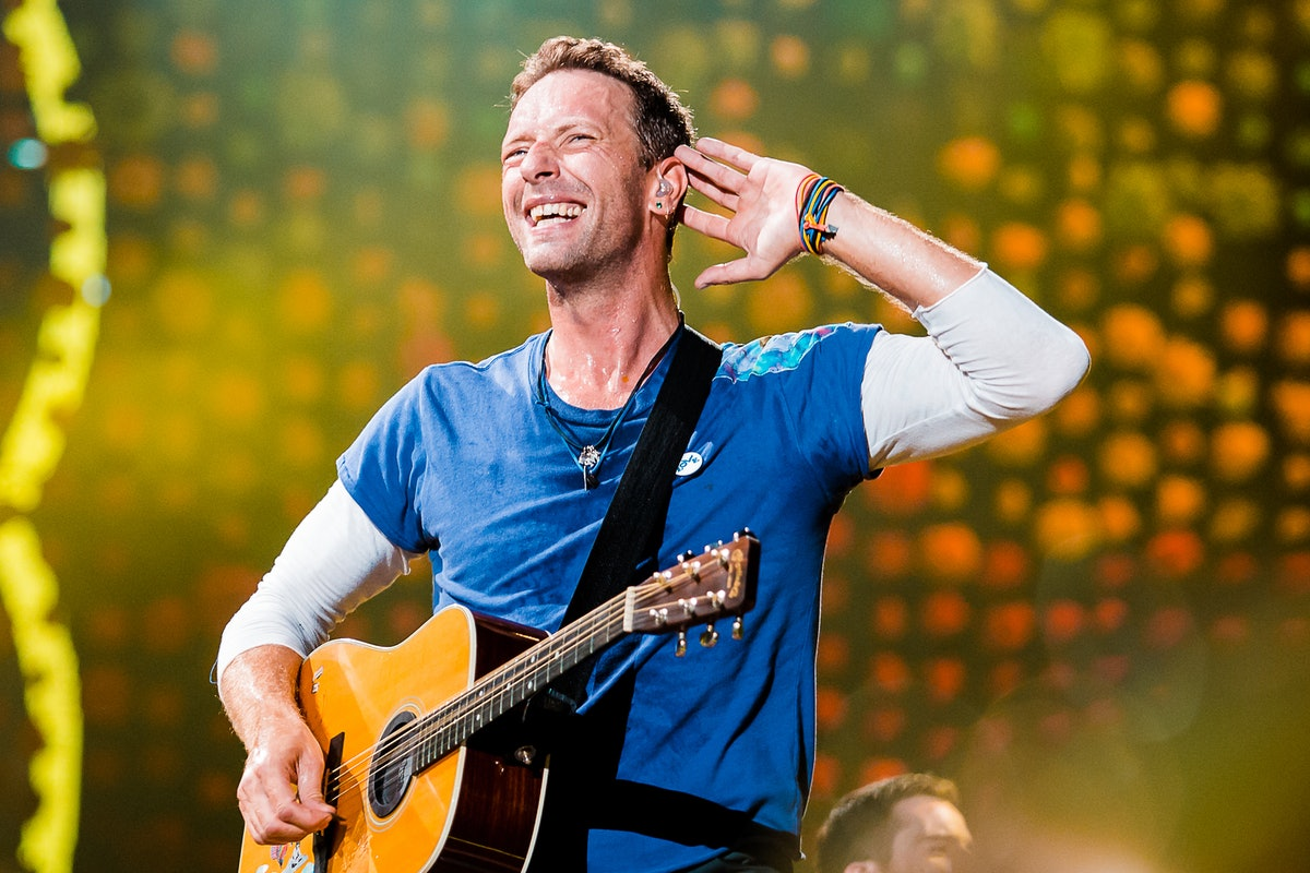 SAO PAULO, BRAZIL - NOVEMBER 7: Chris Martin of Coldplay performs live on stage at Allianz Parque on...