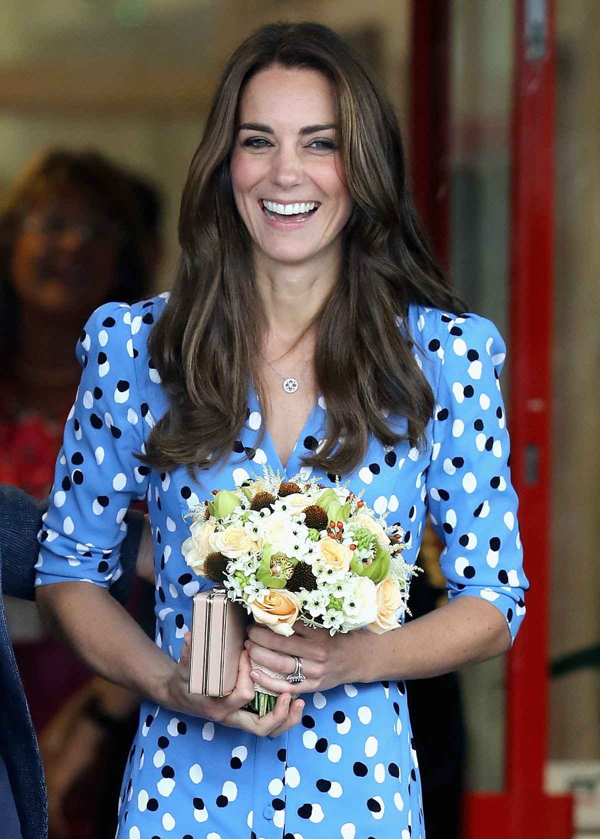 HARLOW, ENGLAND - SEPTEMBER 16:  Catherine, Duchess of Cambridge leaves Steward's Academy on Septemb...