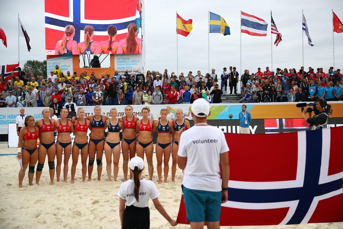 KAZAN, RUSSIA - JULY 29: Norway team line up during 2018 Women's Beach Handball World Cup final agai...