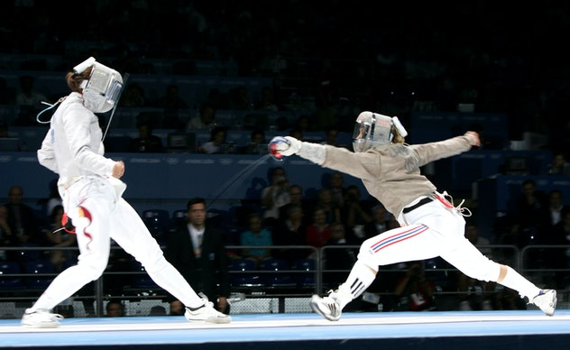 Mariel Zagunis of the United States defeats Xue Tan of China for the gold medal in the Women's Indiv...
