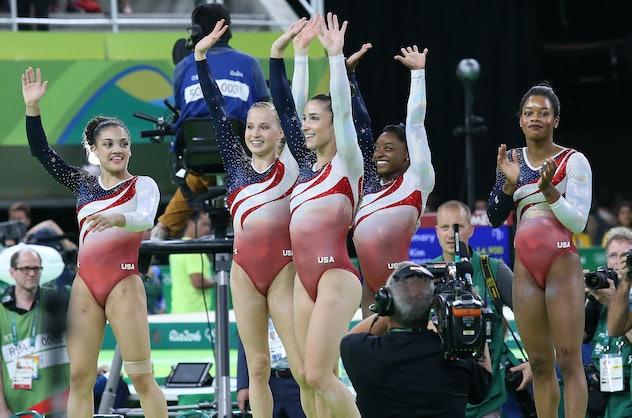 RIO DE JANEIRO, BRAZIL - AUGUST 9: Team USA - Simone Biles, Gabrielle Douglas, Lauren Hernandez, Mad...