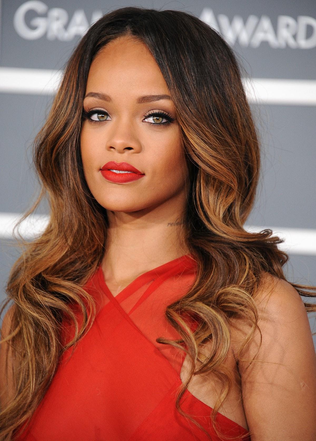Rihanna arrives at the The 55th Annual GRAMMY Awards