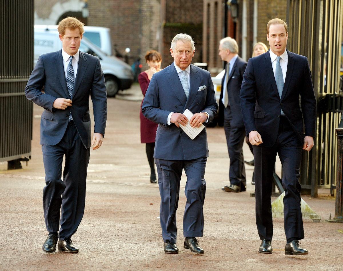 LONDON, ENGLAND - FEBRUARY 13:  (L-R) Prince Harry, Prince Charles, Prince of Wales and Prince Willi...