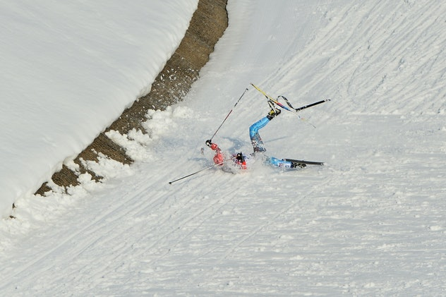 Russia's Anton Gafarov reacts falls in the Men's Cross-Country Skiing Individual Sprint Free Semifin...