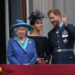 LONDON, UNITED KINGDOM - JULY 1O: Queen Elizabeth ll, Meghan, Duchess of Sussex and Prince Harry, Du...