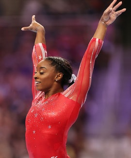 ST LOUIS, MISSOURI - JUNE 27: Simone Biles competes in the floor exercise during the Women's competi...