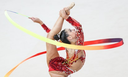 Athlete Lala Kramarenko of Russia performs her individual ribbon routine in the 2021 FIG Rhythmic Gy...