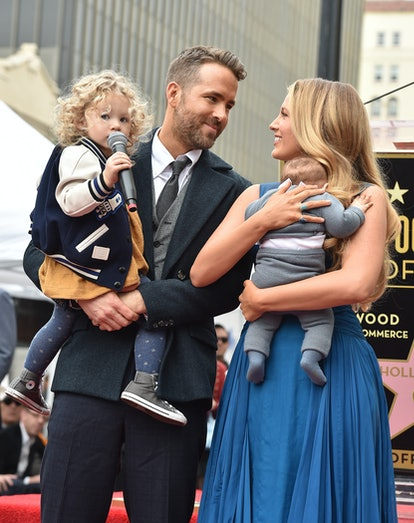 HOLLYWOOD, CA - DECEMBER 15:  Actors Ryan Reynolds and Blake Lively with daughters James Reynolds an...