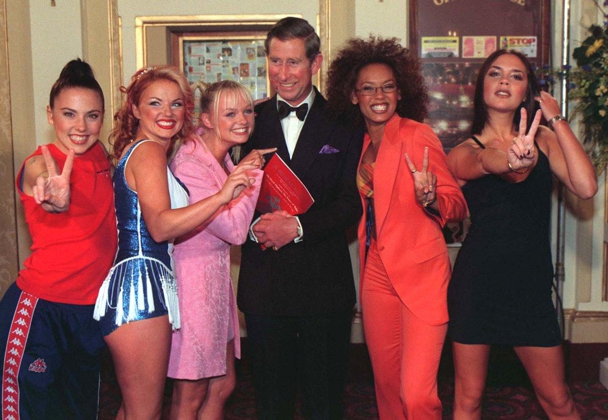 (Original Caption) Prince Charles and the Spice Girls. (Photo by © Pool Photograph/Corbis/Corbis via...