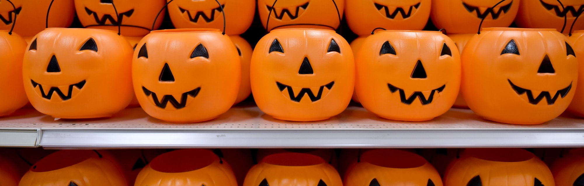 Plastic pumpkins on a shelf. At the Target department store in Exeter Township Tuesday afternoon for...