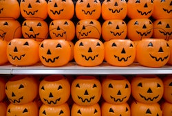 Plastic pumpkins on a shelf. At the Target department store in Exeter Township Tuesday afternoon for a story on halloween costumes October 17, 2017. Photo by Ben Hasty (Photo By Ben Hasty/MediaNews Group/Reading Eagle via Getty Images)