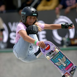 Sky Brown of Great Britain pictured skateboarding