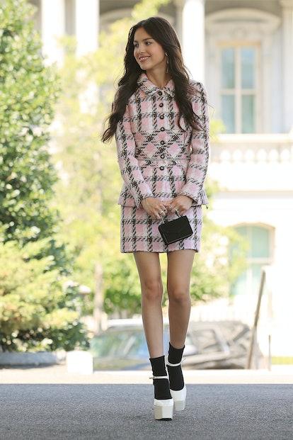 WASHINGTON, DC - JULY 14: Pop music star and Disney actress Olivia Rodrigo arrives at the White Hous...