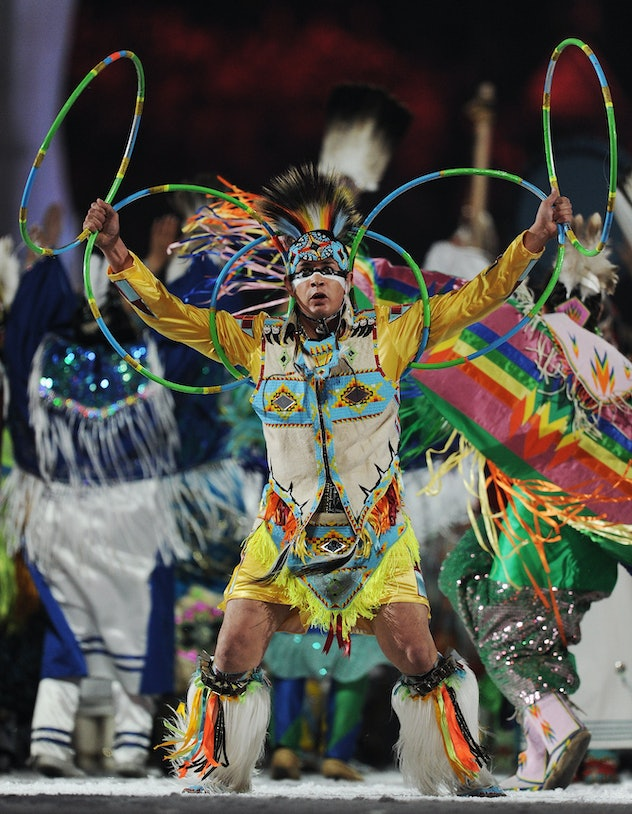 VANCOUVER, BC - FEBRUARY 12:  Aborigine performers from the Four Host First Nations perform during t...