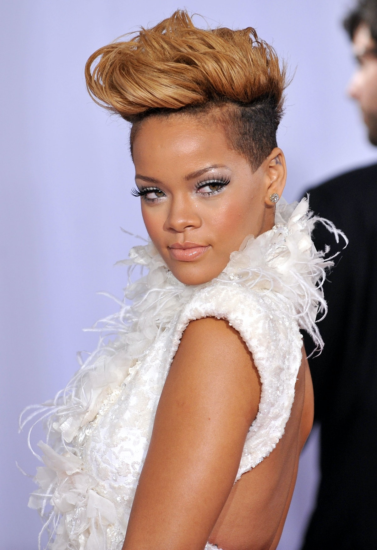 Rihanna arrives at the 52nd Annual GRAMMY Awards in 2010