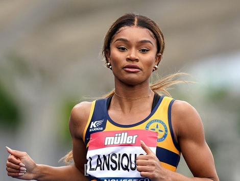 Imani-Lara Lansiquot during the women's 100m heats during day one of the Muller British Athletics Championships at Manchester Regional Arena. Picture date: Friday June 25, 2021. (Photo by Martin Rickett/PA Images via Getty Images)