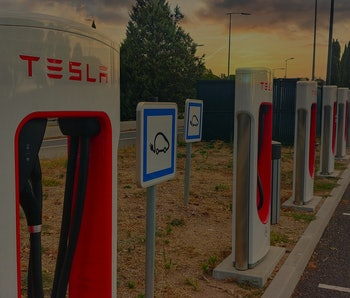 Tesla superchargers on a motorway rest area in France, (Var, France)