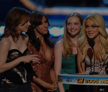 """Rachel McAdams, Lacey Chabert, Amanda Seyfried and Lindsay Lohan, winners for On-Screen Team Award for """"Mean Girls"""" (Photo by M. Caulfield/WireImage)"""