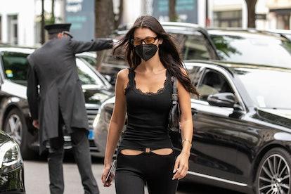PARIS, FRANCE - JUNE 28: Model Bella Hadid is seen on June 28, 2021 in Paris, France. (Photo by Marc...