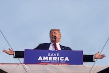 WELLINGTON, OHIO - JUNE 26: Former US President Donald Trump speaks to supporters during a rally at ...
