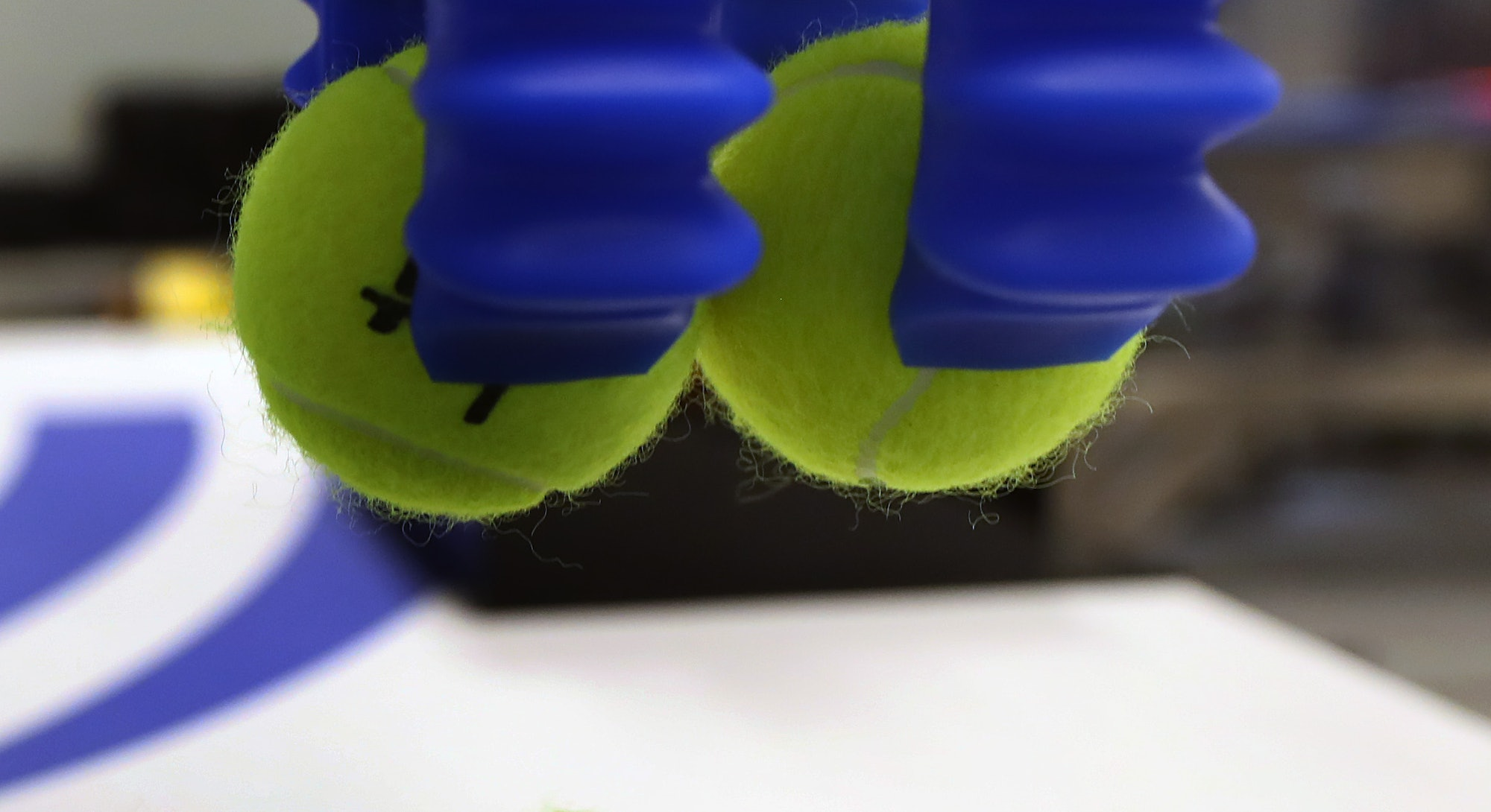 BEDFORD, MA - MAY 20: A soft robotics device works with tennis balls in Bedford, MA on May 20, 2019....